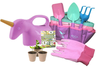 Unicorn Gardening Tools with Gardening Gloves and Learning Guide - ROCA Toys
