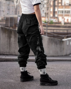 High Waisted Cargo Pants - Black