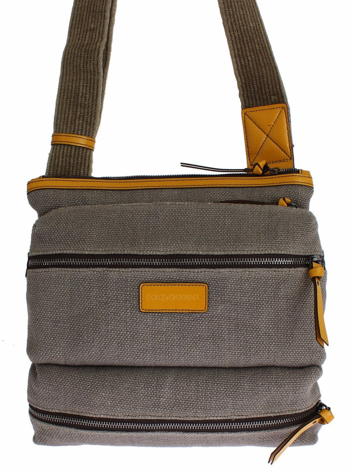 Gray Denim Leather Crossbody Shoulder Bag