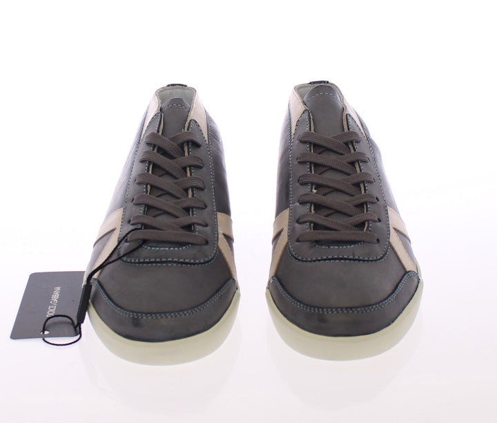 Dark Gray Leather Logo Sport Sneakers Shoes