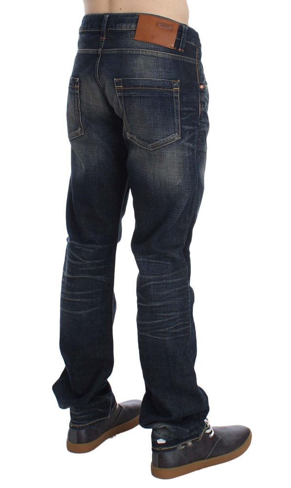 Blue Wash Straight Fit Low Waist Jeans
