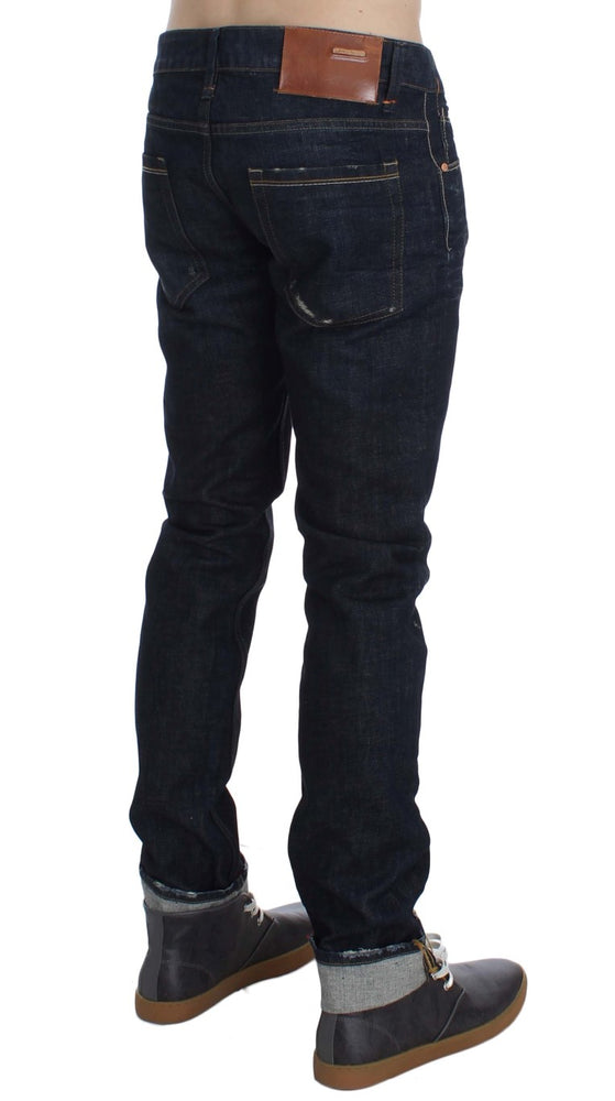 Dark Blue Wash Cotton Slim Skinny Fit Jeans