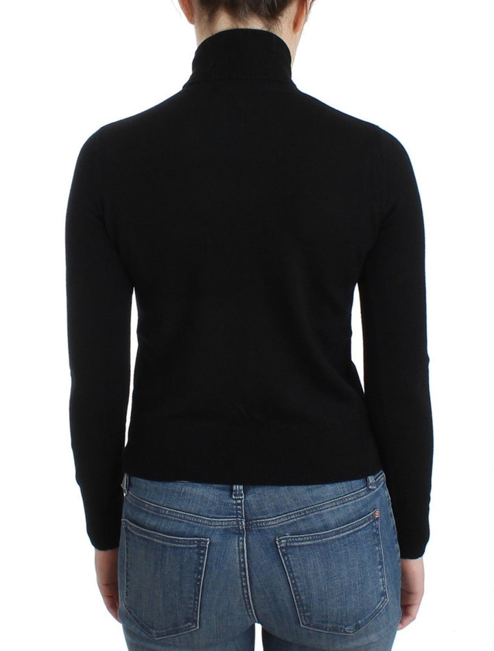 Black wool turtleneck sweater