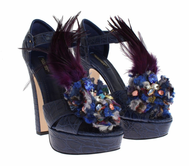 Blue Caiman Crocodile Leather Crystal Shoes