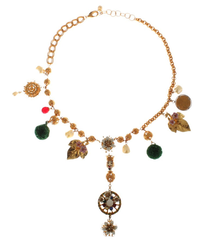 Gold Brass Crystal Floral Sicily Charms Chain Necklace