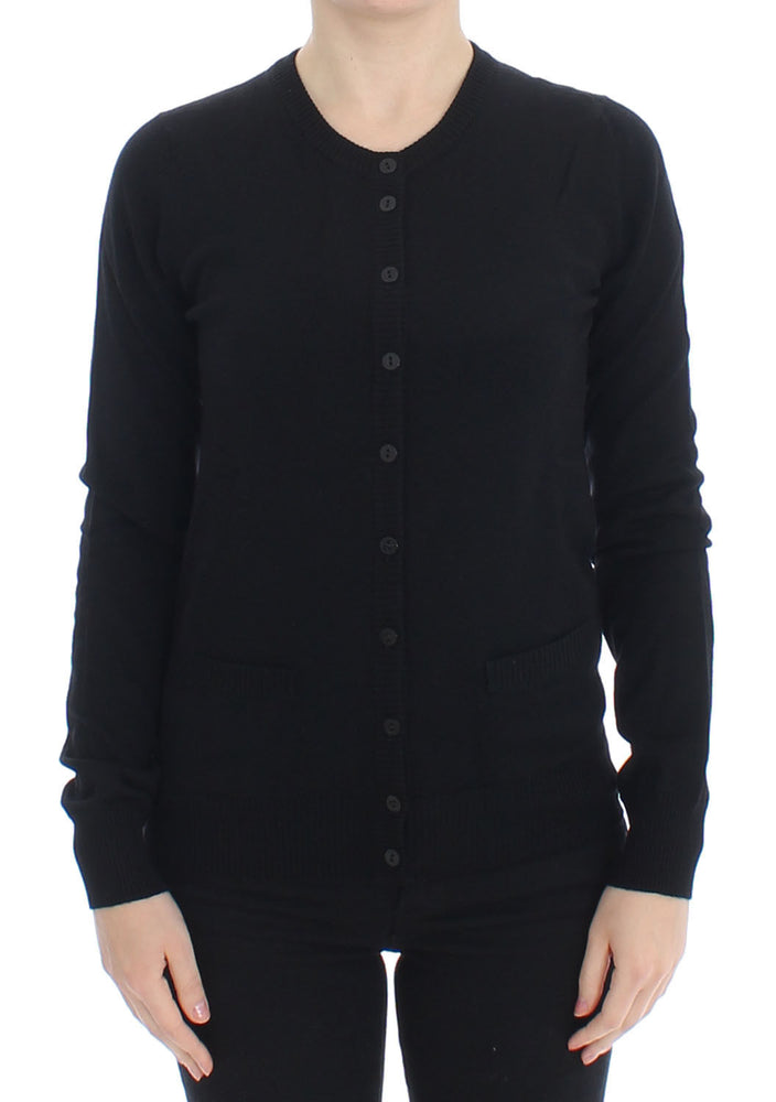 Black Wool Button Cardigan Sweater Top