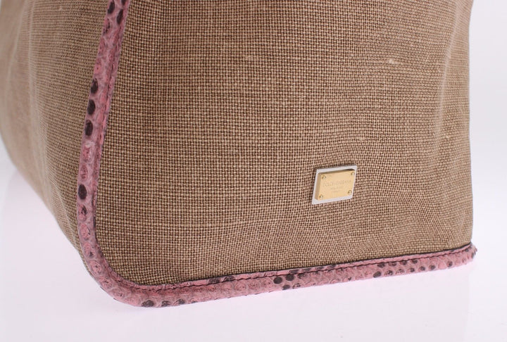 Pink Python Snakeskin Linen Hand Shopping Tote Bag