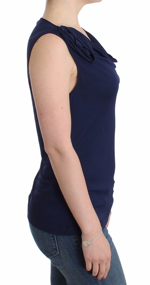 Blue top sleeveless blouse