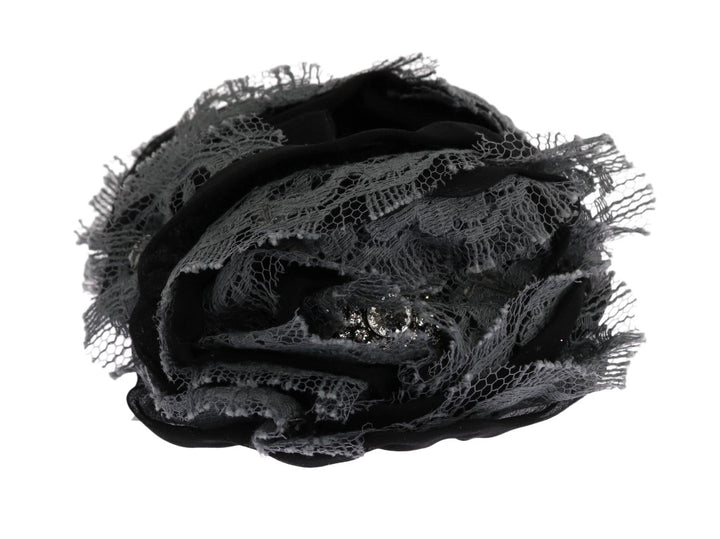 Black Gray Floral Lace Crystal Hair Claw