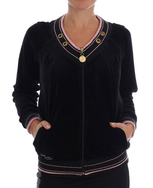 Black Pink Velvet Zip Cardigan Sweater
