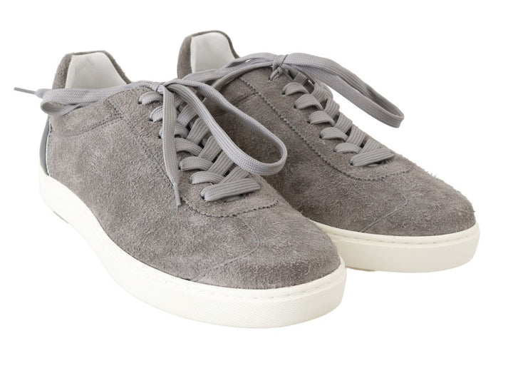 Gray Leather Mens Casual Sneakers