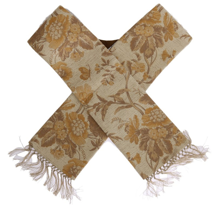 Beige Gold Jacquard Cotton Scarf