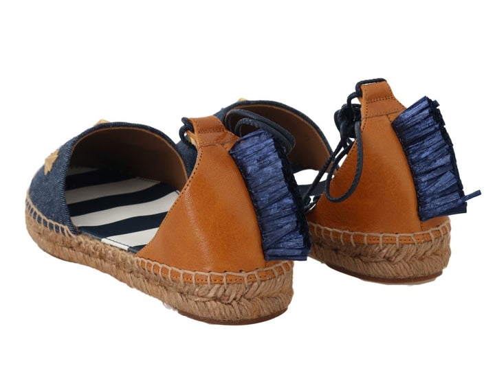 Blue Denim Leather Espadrilles Shoes