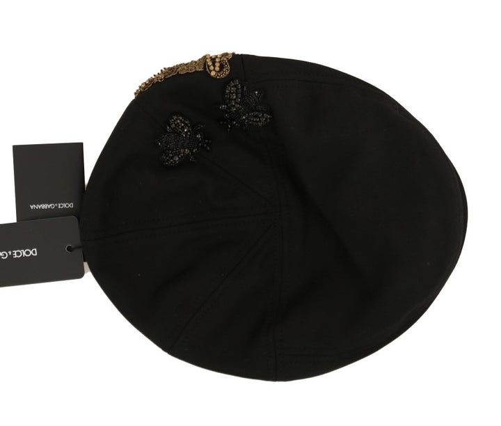 Black Crystal AMORE Bee Applique Hat