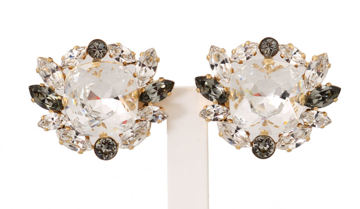 Gold Brass Crystal Clear Gray NATALE Clip Earrings