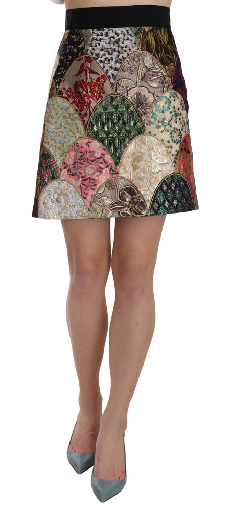 Patchwork Mini Printed Jacquard Skirt