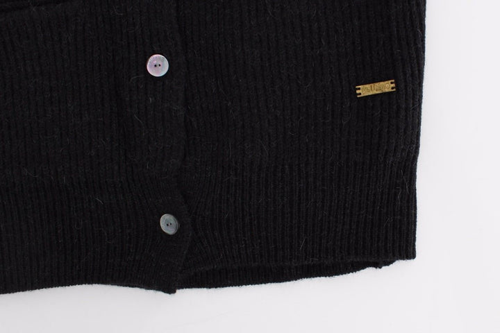 Black wool cardigan