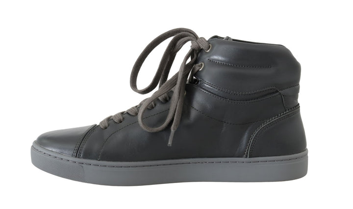 Gray Leather Mens High Top Sneakers