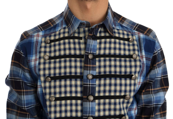 Blue Check Cotton Slim Fit Shirt
