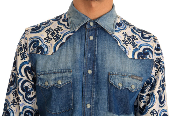 Blue Denim Cotton Majolica Silk Shirt