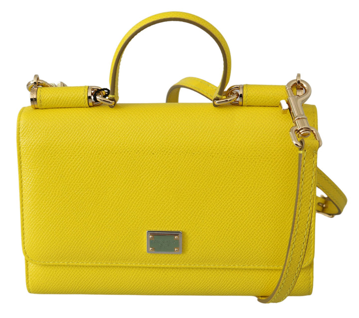 Yellow Solid Gloss Sling Phone Borse VON Leather Bag