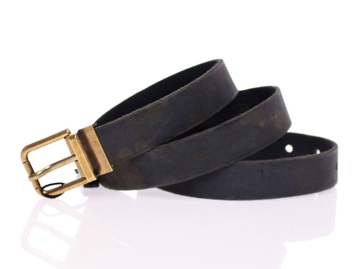 Black Spotted Leather Logo Belt