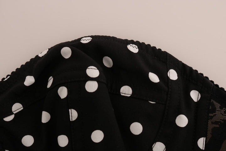 Black Polka Dot Silk Bustier Top