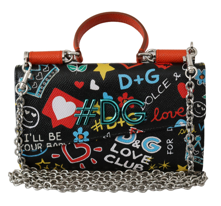 Black #DG Printed Sling Phone Borse Sicily Leather Bag