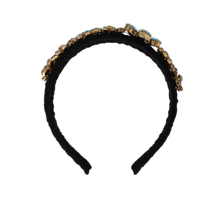 Black Brocade Gold Crystal Floral Headband
