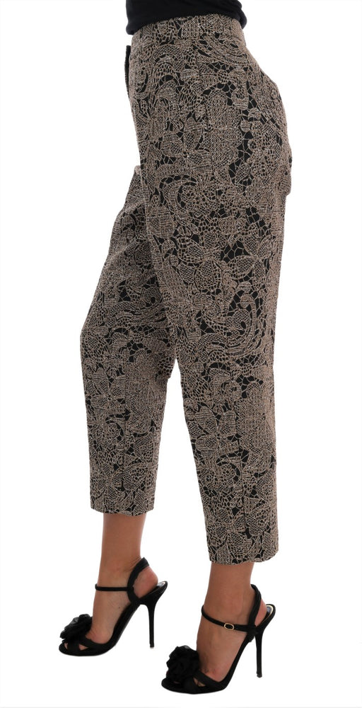 Gray Black Floral Lace Cropped Pants