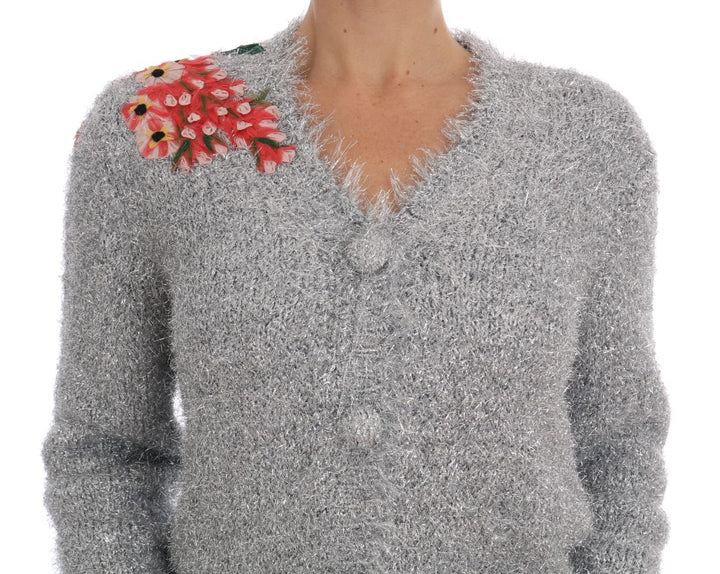 Silver Floral Fairy Tale Cardigan Sweater
