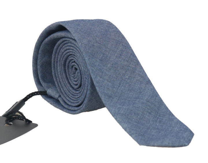 Blue Denim Cotton Solid Slim Tie