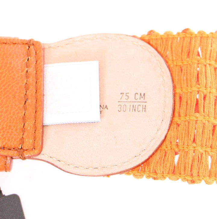 Orange Cotton Stretch Logo Belt