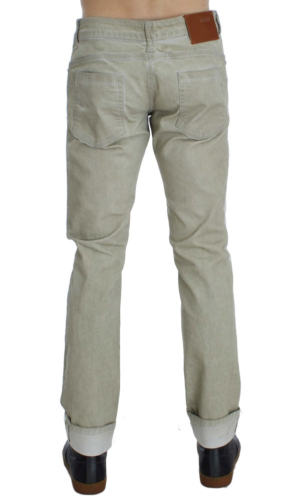 Beige Wash Cotton Slim Skinny Fit Jeans
