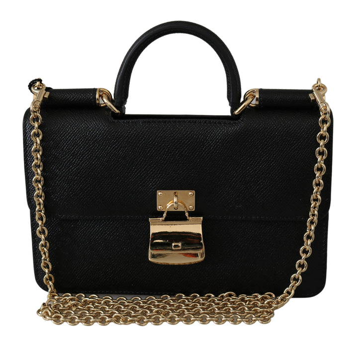 Black Padlock Cross Body Clutch Leather Sicily Bag