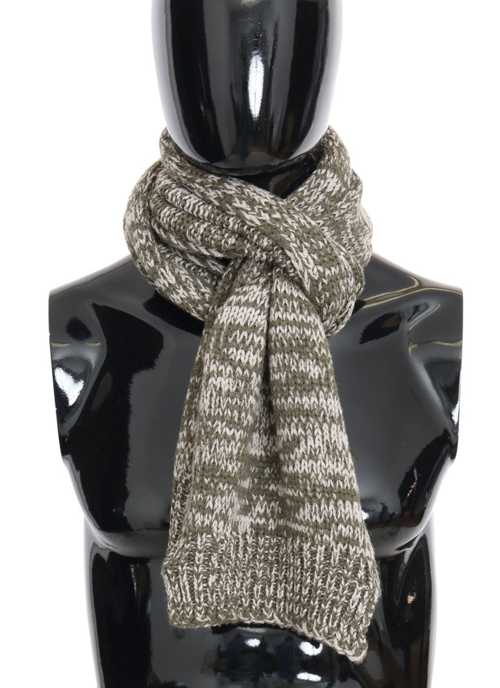 Green White Wool Knitted Scarf