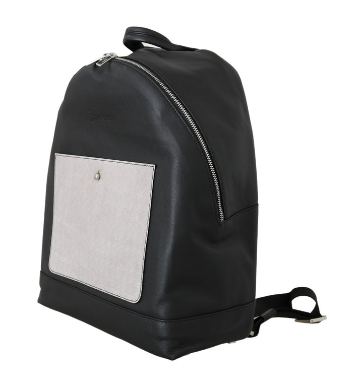Black Gray Leather Backpack Bag