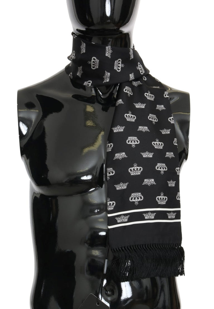 Black Silk Crown Print Scarf