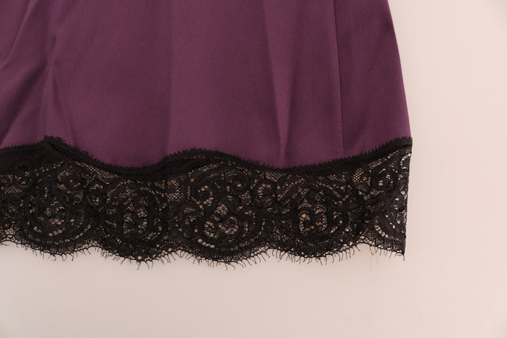 Purple Silk Stretch Black Lace Lingerie Dress