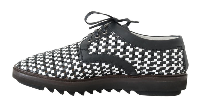 Black White Woven Leather Casual Shoes