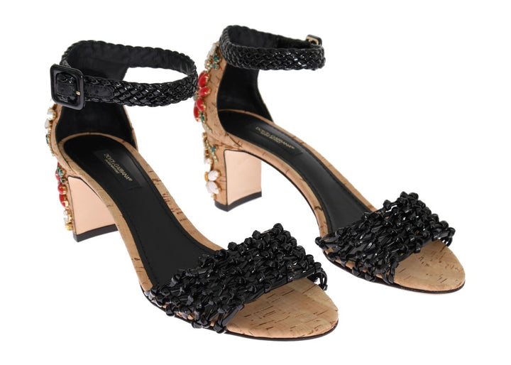 Black Leather Cork Floral Crystal Shoes