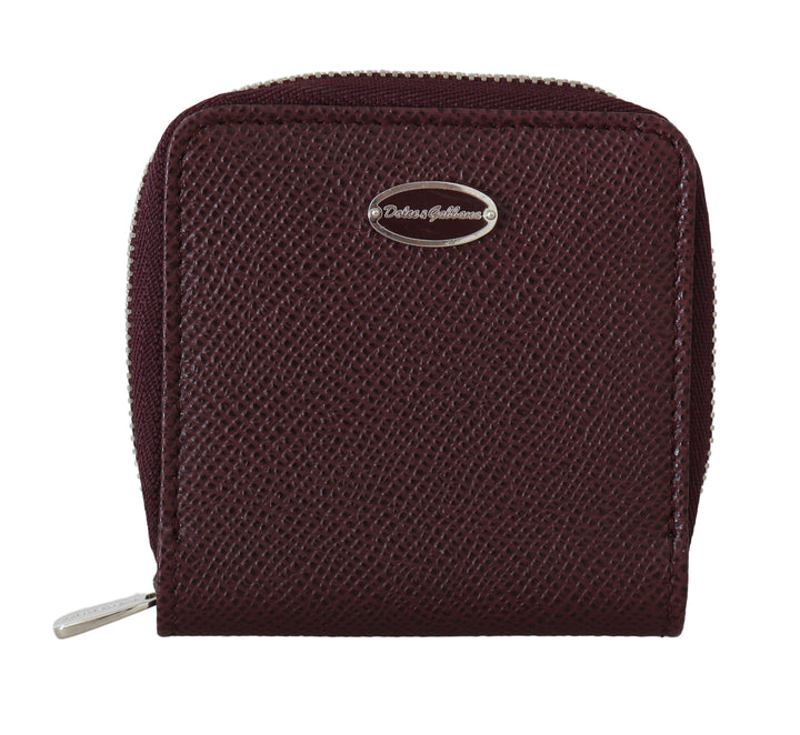 Bordeaux Leather Coin Card Zipper Wallet
