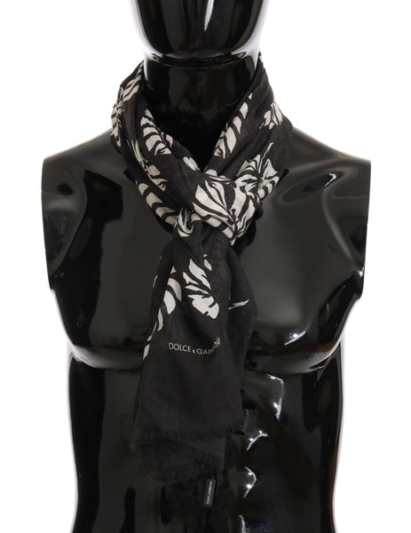 Brown Cashmere Leaves Print Scarf
