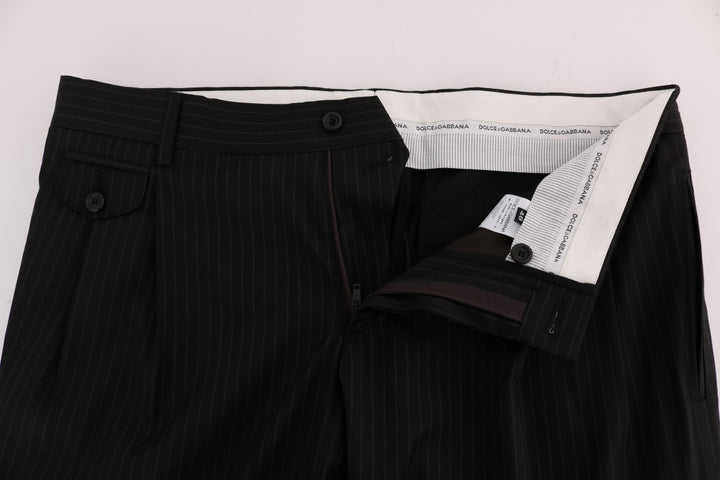 Black Striped Wool Stretch Formal Pants