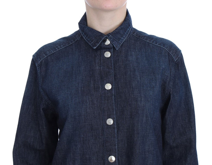 Blue Denim Cotton Jeans Casual Shirt