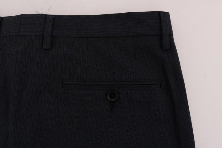 Blue Striped Cotton Dress Formal Pants