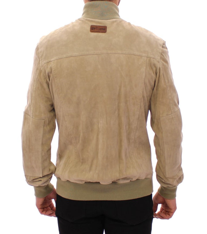 Beige suede leather jacket coat