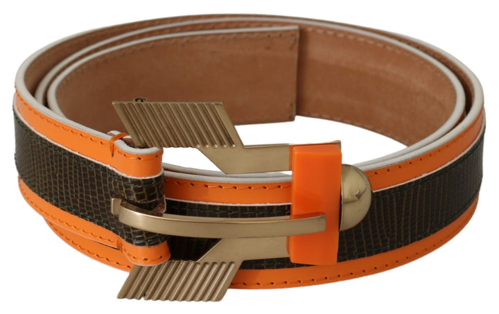 Brown Orange Leather Gold Buckle Animal Pattern Belt