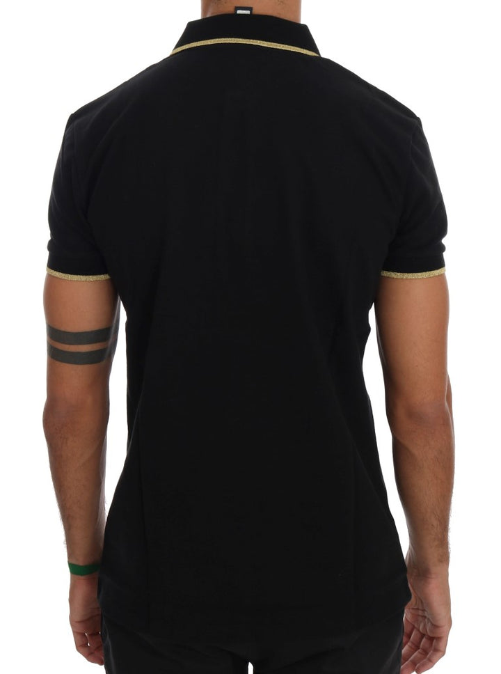 Black Cotton Short Sleeve Polo T-Shirt