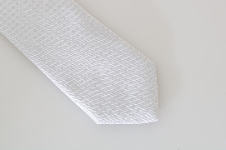 White Silk Polka Dot Pattern Tie